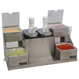 Self-Service Condiment Center - (2) Ultra Pumps, (2) 2 1/2 Qt Jars & (4) 1 Qt Inserts w/Notched Lids & Spoons