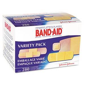 Johnson & Johnson Sheer/Wet Adhesive Bandages, Assorted Sizes, 280/Box