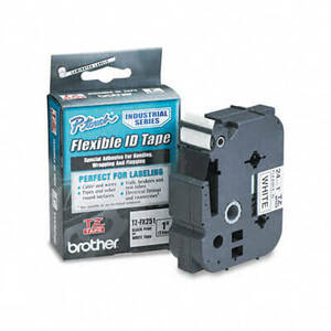 "Brother TZ Flexible Tape Cartridge for P-Touch Labelers, 1"" x 26', Black on White"