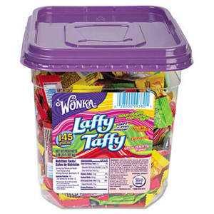 Wonka Assorted Flavor Laffy Taffy, 3.08 lbs, 145 Wrapped Pieces/Tub