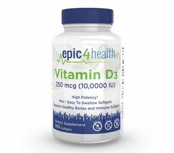 Epic4Health - Vitamin D3 250mcg (10,000 IU) (360 Softgels)
