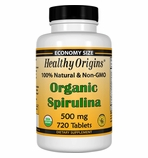 Healthy Origins Organic Spirulina 500mg (720 Tablets)