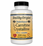Healthy Origins Stabilized L-Carnitine Crystalline 500mg 180 Veggie Licaps� (Soy-Free, Gluten Free & NON-GMO)