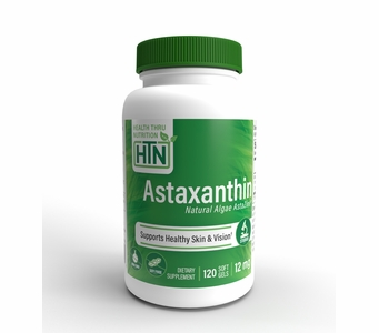Natural Astaxanthin (as AstaZine®) 12mg (Non-GMO, Soy-Free & Gluten Free) 120 Softgels