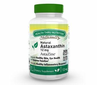 Natural Astaxanthin (as AstaZine®) 12mg (Non-GMO, Soy-Free & Gluten Free) 30 Softgels