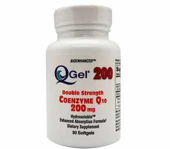 Q-Gel 200mg Double Strength Hydrosoluble CoQ10 (30 Softgels)