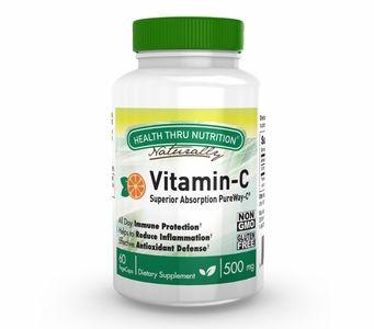 Vitamin C 500mg (60 Vegecaps) Advanced Absorption PureWay-C (NON-GMO) (Gluten Free)