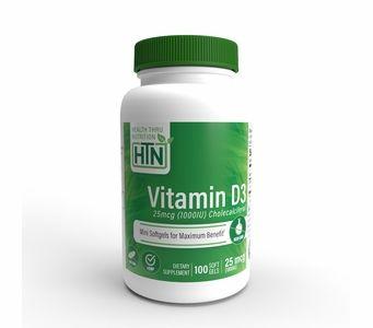 Vitamin D3 25mcg / 1,000 IU (100 Softgels) (Soy-Free) (NON-GMO)