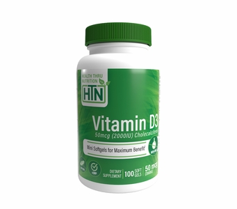 Vitamin D3 50mcg / 2,000 IU (100 Softgels) (Soy-Free) (NON-GMO)