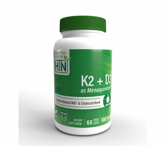 Vitamin K2 (100mcg) + Vitamin D3 (1000 IU) (60 Vegecapsules)