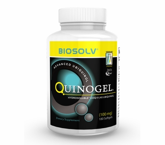 100mg Quinogel Solubilized Ubiquinol CoQ10 (Hydrosoluble Kaneka Ubiquinol) 100mg / 180 Softgels