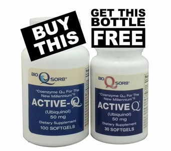 50mg ActiveQ Ubiquinol CoQ10 (100 Softgels PLUS 30 Softgels FREE!)