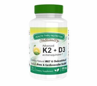 Vitamin K2 (100mcg) + Vitamin D3 (1000 IU) (120 Vegecapsules)
