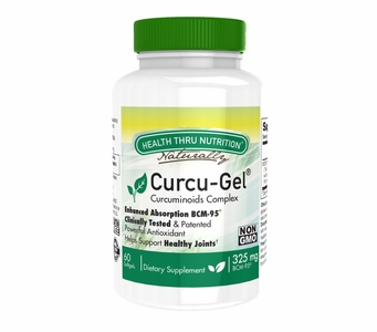 Curcu-Gel 325mg (60 Softgels) BCM-95 Enhanced Absorption Curcumin (Soy-Free) (NON-GMO)