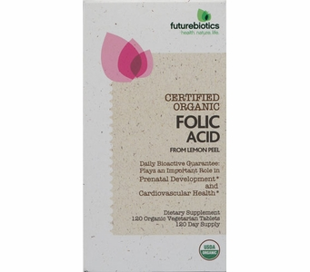 Futurebiotics Certified Organic Folic Acid -  800 mcg from Lemon Peel - 120 Organic Vegetarian Tablets