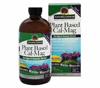 Nature's Answer Plant Based Cal-Mag Marine Minerals - Red Algae & Seawater Derived - 100% Marine Based - 72 Trace Minerals - 16 fl oz