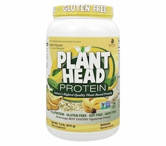Plant Head Banana Protein Powder * Naturally Flavored * Gluten Free * Soy Free * Dairy Free * 1.8 lb (810 g)