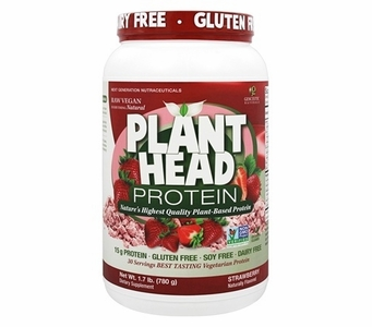 Plant Head Strawberry Protein Powder * Naturally Flavored * Gluten Free * Soy Free * Dairy Free * 1.7 lb (780 g)
