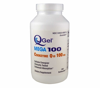Q-Gel Mega 100mg<br>Hydrosoluble CoQ10<br>180 Softgels