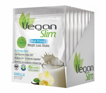 VeganSlim High Protein Weight Control Shake (Vanilla / 12 Packets)