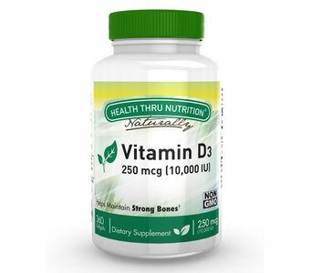 Vitamin D3 250mcg / 10,000 IU (360 Softgels) (Soy-Free) (NON-GMO)