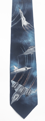 Jet Airplane Handpainted Silk Necktie <font color=red>40% Savings</font>