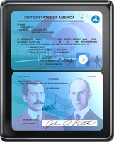 Modern Pilot License Plaque - Black