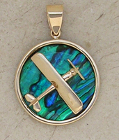 14K Gold Biplane Pendant on Sea Opal