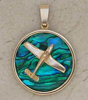 Gold Bonanza V-Tail Airplane Pendant Sea Opal Jewelry