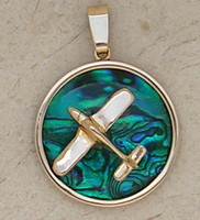 Gold Piper Style Airplane Pendant Sea Opal Jewelry