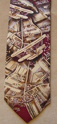 Silk Biplane Airplane Tie