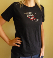 Just Wingin' It Women's Biplane T-Shirt with Bling <font color=red>Special Sale</font>
