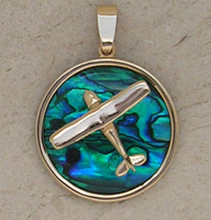 Gold Cessna Style Airplane Pendant Sea Opal Jewelry
