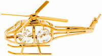 Gold Plated Helicopter Ornament with Crystals