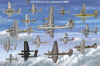 WWII Warbirds Military Airplanes Poster