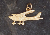 Gold Cessna Airplane Charm Jewelry
