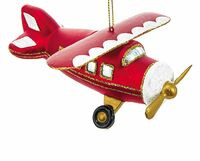 Red Glass Airplane Ornament