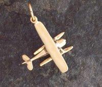 Gold Cessna Floatplane Airplane Pendant Jewelry