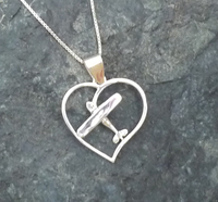 Silver Cessna Style Heart Pendant with Necklace