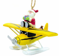 Santa on Float Plane Ornament