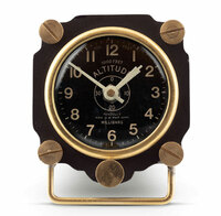 Metal Altimeter Desk Clock  | Black/Brass