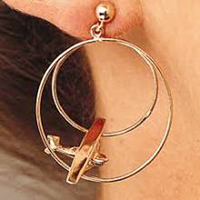 14K Gold Double Loop Airplane Earrings - Cessna Style