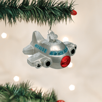 Jet Airplane Glass Ornament