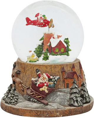Large Flying Santa Musical Snow Globe | Watch Video