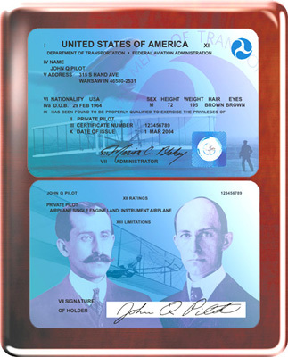 Modern Pilot License Plaque - Rosewood