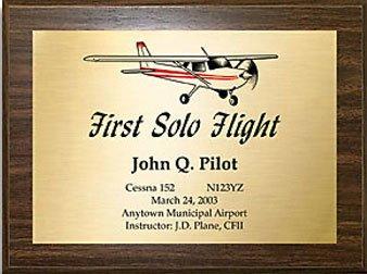 First Solo Commemorative Aviation Plaque