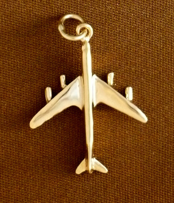 Gold B-707 Jet Airplane Pendant Jewelry