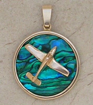 Gold Bonanza V-Tail Airplane Pendant Sea Opal Jewelry