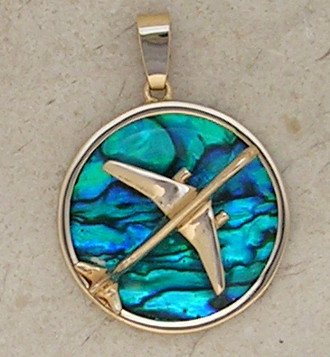 Gold B-757 Jet Airplane Pendant Sea Opal Jewelry