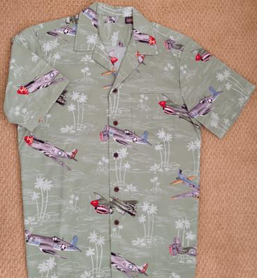 Airplane Aloha Shirt | Sage Green